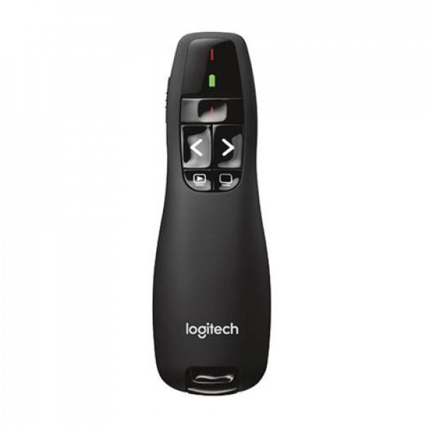 Apuntador R400 Logitech Wireless Receptor USB Compatible Win-Mac Laser Rojo Alcance 15Metros Batería AAA Con Indicador Garantía 3Años-NEGRO