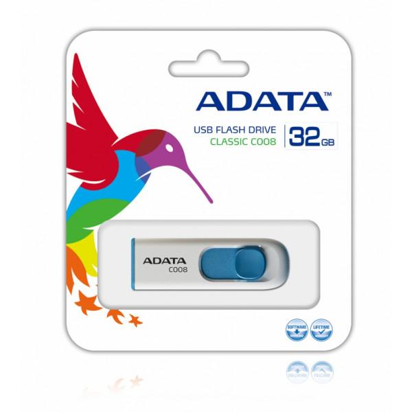 Memoria adata USB 2.0 C008 Retráctil 32GB blanca