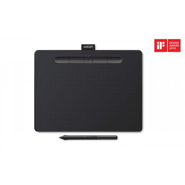 """Tableta de dibujo gráfica inalámbrica Wacom Intuos con software adicional incluido, 10.4 """"x 7.8"""", negro"""