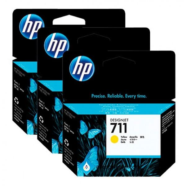 Pack de ahorro de 3 cartuchos de tinta DesignJet HP 711 de 29 ml Amarillo
