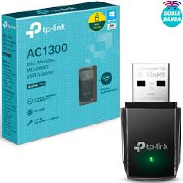 Tarjeta de Red mini USB TPLINK - Inalambrica Doble Banda AC1300