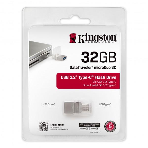 Memoria Kingston DT MicroDuo USB 3.0/3.1 3C Type-C (16GB: 100MB/s read; 32GB-64GB: 100MB/s read 15MB/s write)