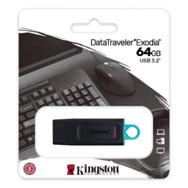 Memoria USB 3.2 64GB Kingston DataTraveler Exodia Azul