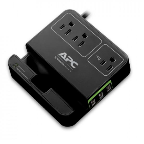 APC Essential surgearrest, 3 salidas, 3 puertos de carga usb, 120 v, negro