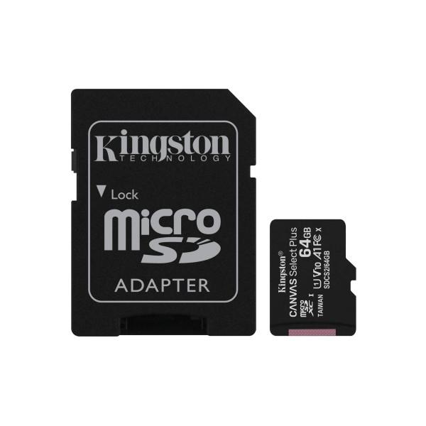 Memoria Kingston micro SD con adaptador  Canvas Select Plus Clase 10  85MB/100MB 64GB